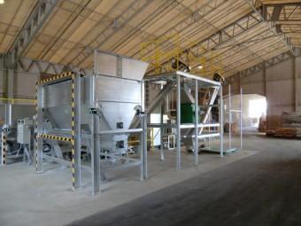 キノコ栽培用床材リサイクル設備・計量袋詰装置